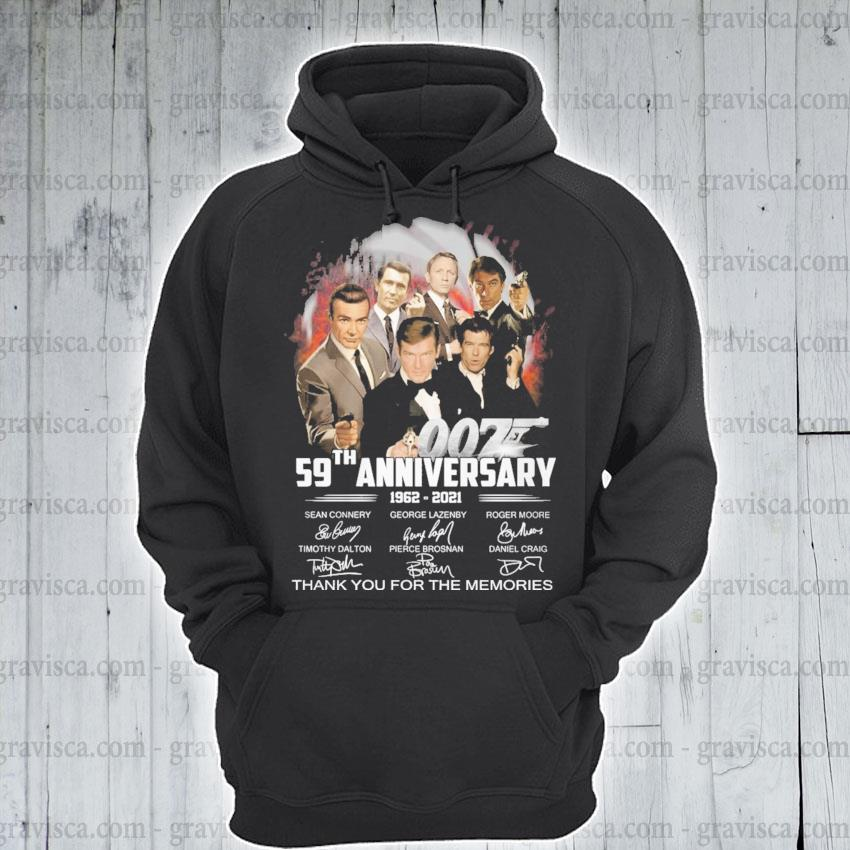 007 59th anniversary 1962 2021 signature thank you for the memories s hoodie