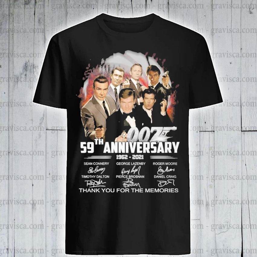 007 59th anniversary 1962 2021 signature thank you for the memories shirt