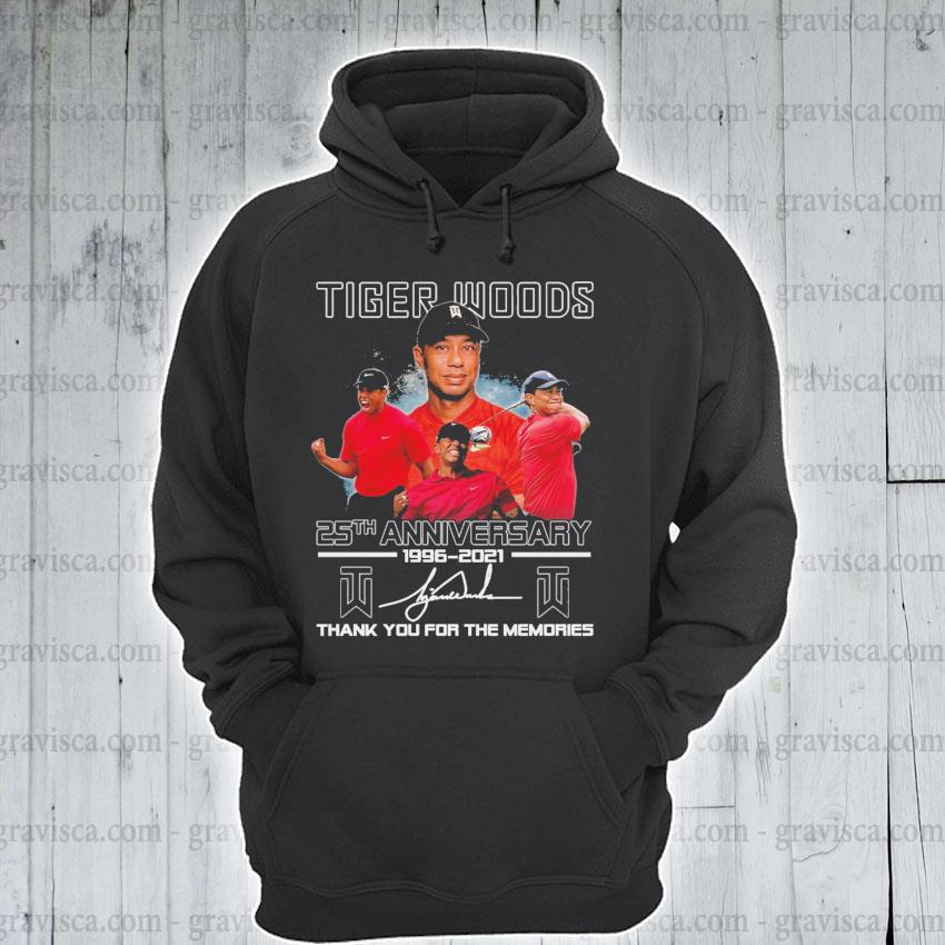 Tiger Woods 25th anniversary 1996 2021 signature thank you for the memories s hoodie