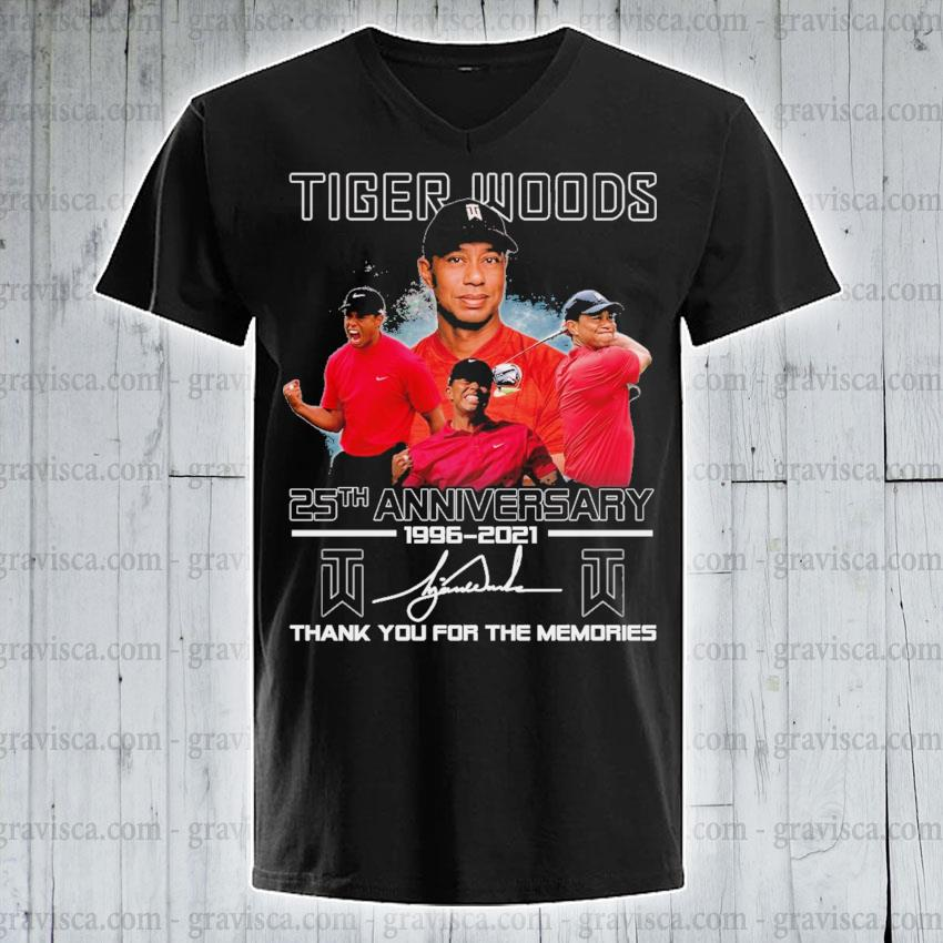 Tiger Woods 25th anniversary 1996 2021 signature thank you for the memories s v-neck-tee