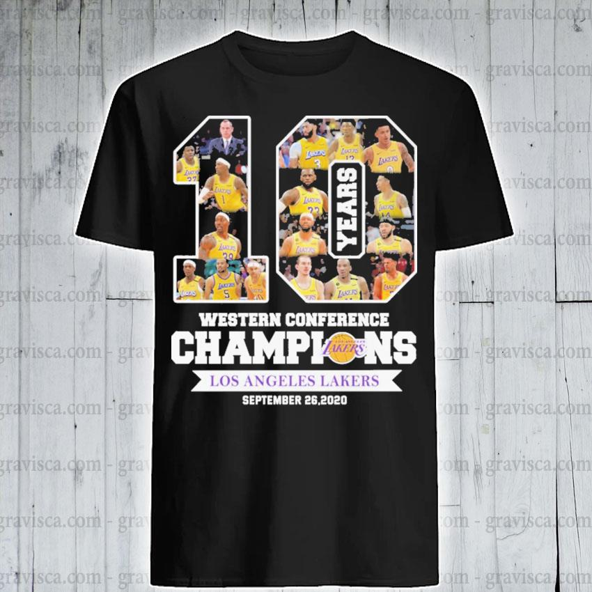 10 years Western Conference Champions Los Angeles Laker September 26 2020 shirt