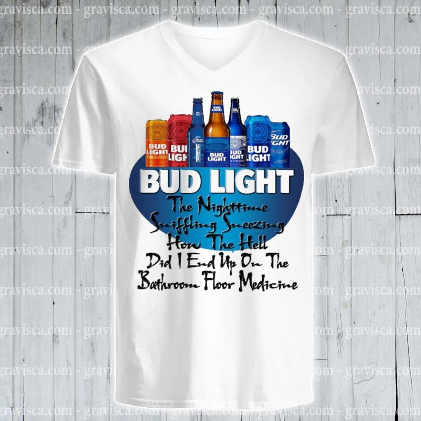 Bud light the nighttime suffering sneezing hon the hell s v-neck-tee
