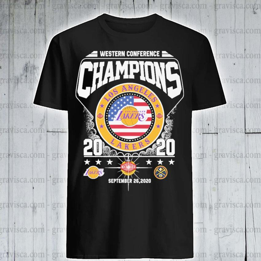 Western Conference Champions Los Angeles Lakers 2020 September 26 2020 American flag shirt