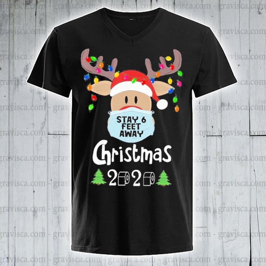 Feaet Of Christmas 2020 Reindeer face mask stay 6 feet away Christmas 2020 shirt, hoodie