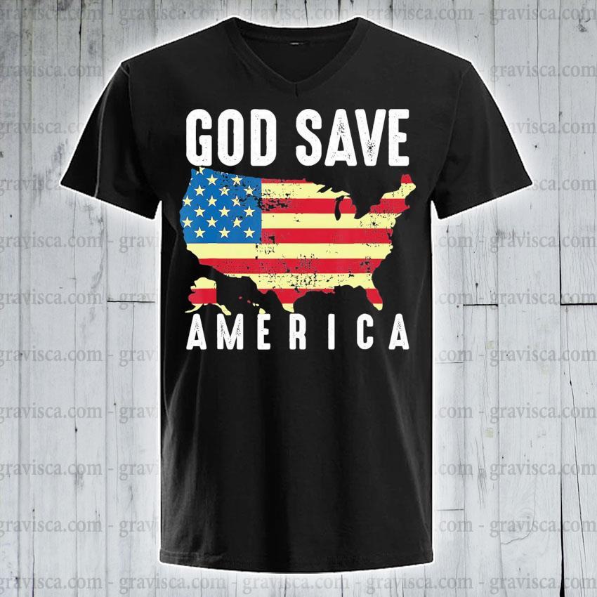 Top God save America flag s v-neck-tee