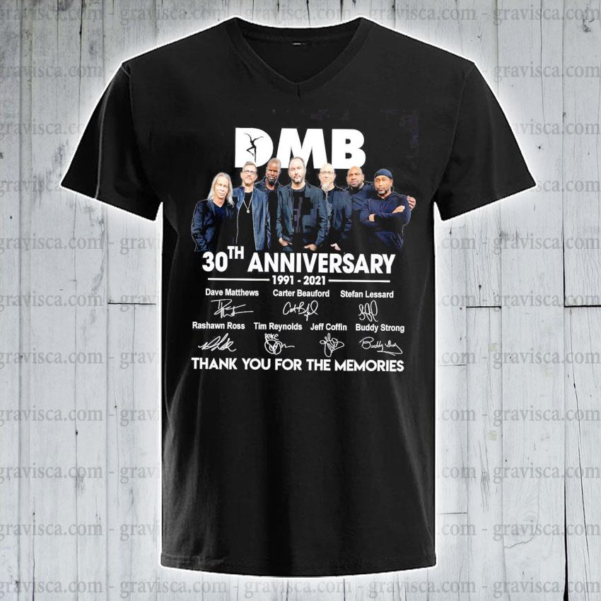DMB 30th anniversary signatures thank you for the memories s v-neck-tee