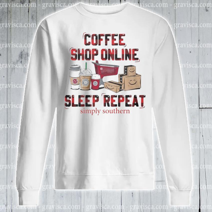 Plaid Coffee shop online sleep repeat s sweatshirt
