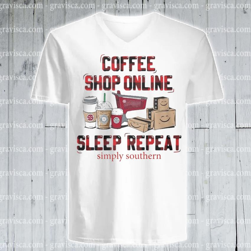 Plaid Coffee shop online sleep repeat s v-neck-tee
