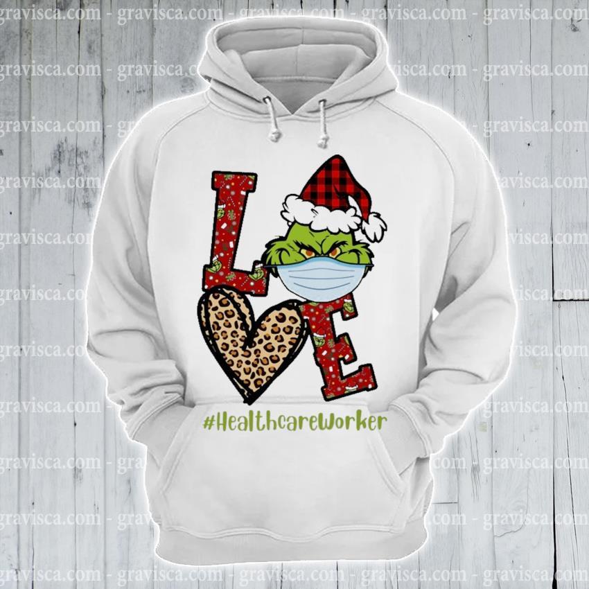 Plaid Grinch Santa love # Healthcare Worker Christmas s hoodie