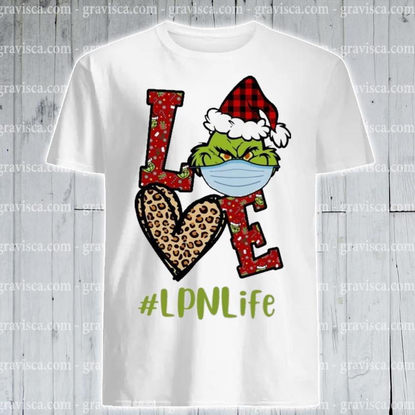 Plaid Grinch Santa love # Lpn life Christmas shirt