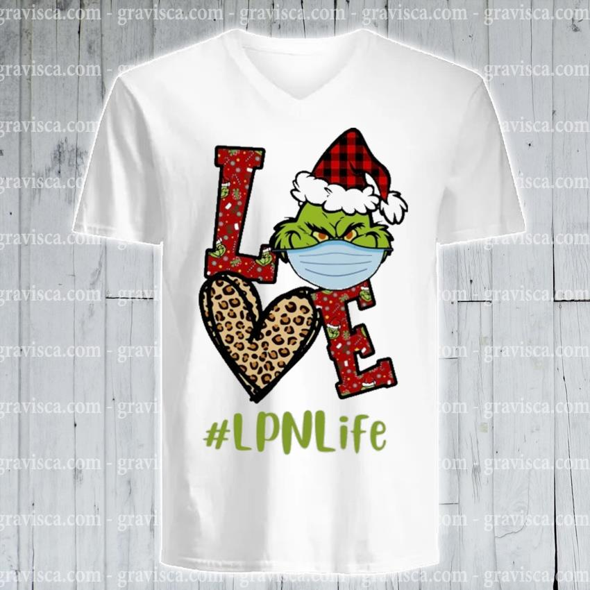 Plaid Grinch Santa love # Lpn life Christmas s v-neck-tee