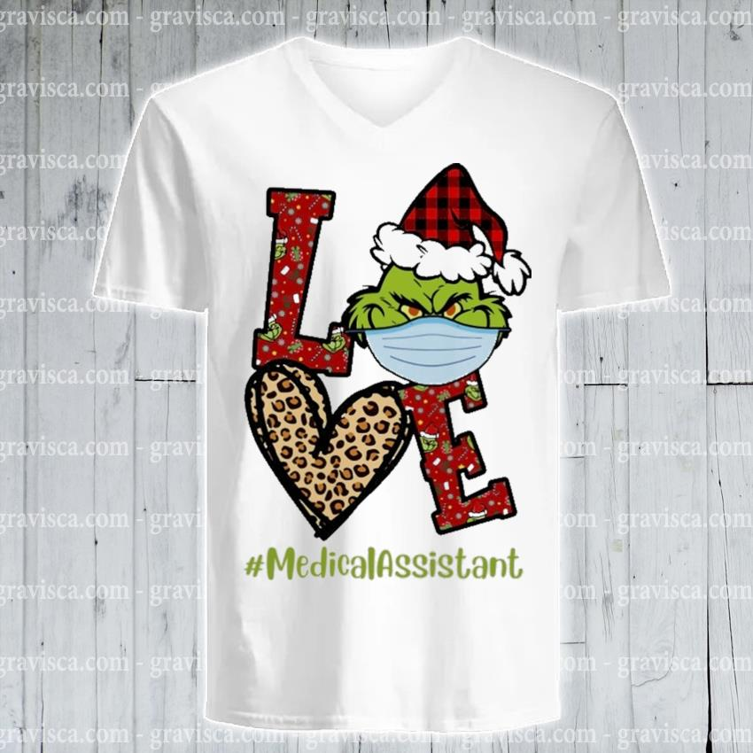 Plaid Grinch Santa love # Medical Assistant Christmas s v-neck-tee