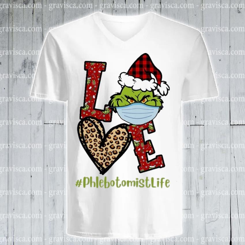 Plaid Grinch Santa love # phlebotomist life Christmas s v-neck-tee