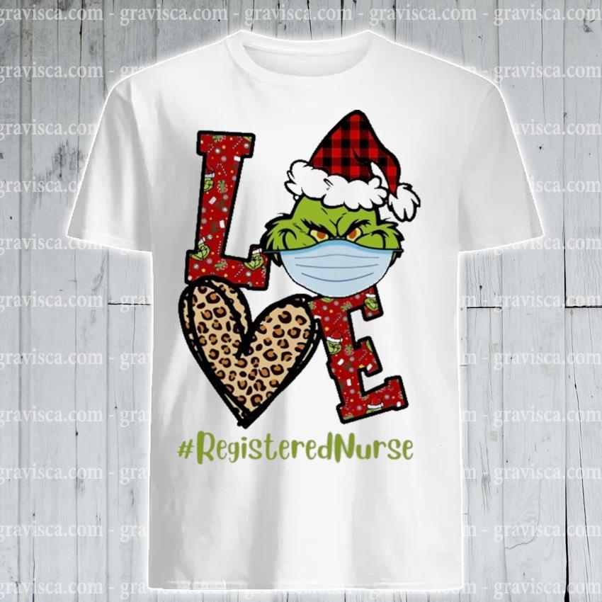 Plaid Grinch Santa love # Registered Nurse Christmas shirt