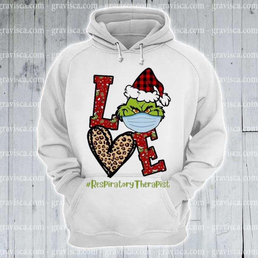 Plaid Grinch Santa love # Respiratory Therapist Christmas s hoodie