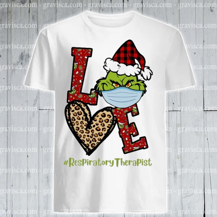Plaid Grinch Santa love # Respiratory Therapist Christmas shirt