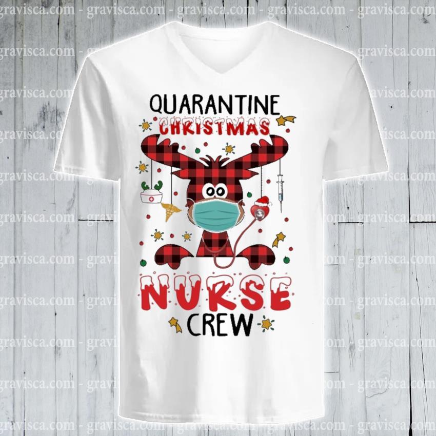 Plaid Reindeer quarantine Christmas Nurse crew s v-neck-tee