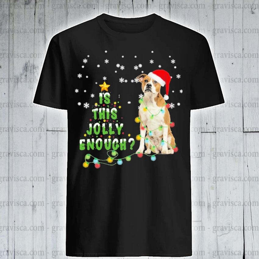 Bulldog hat Santa Is this Jolly enough light Christmas shirt