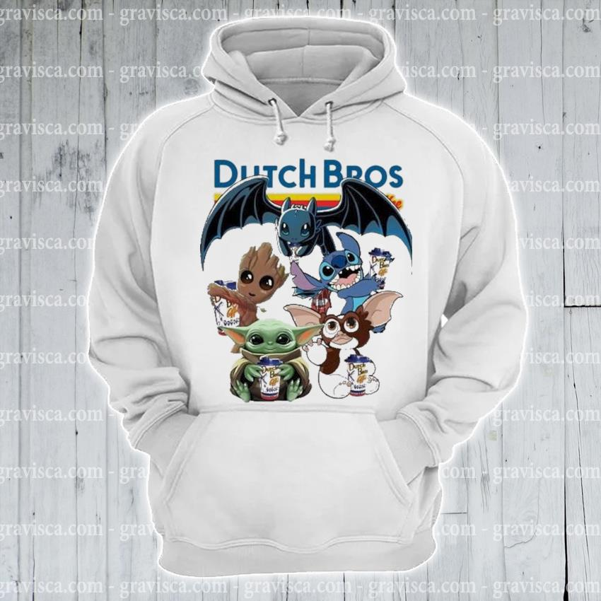 Dutch bros coffee baby yoda baby groot and toothless stitch gizmo s hoodie