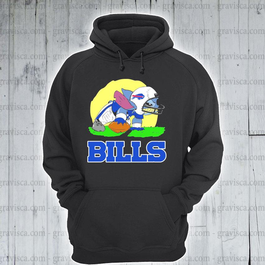Stitch playing Rugby Bills s hoodie
