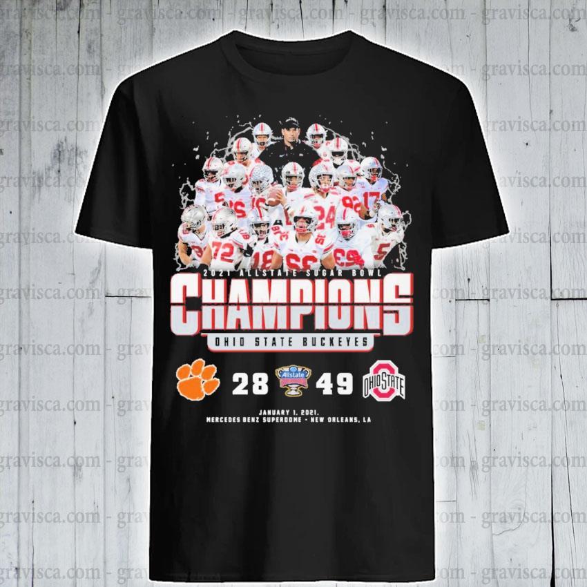 2021 Allstate Sugar bowl Champions Ohio State Buckeyes 28 49 shirt