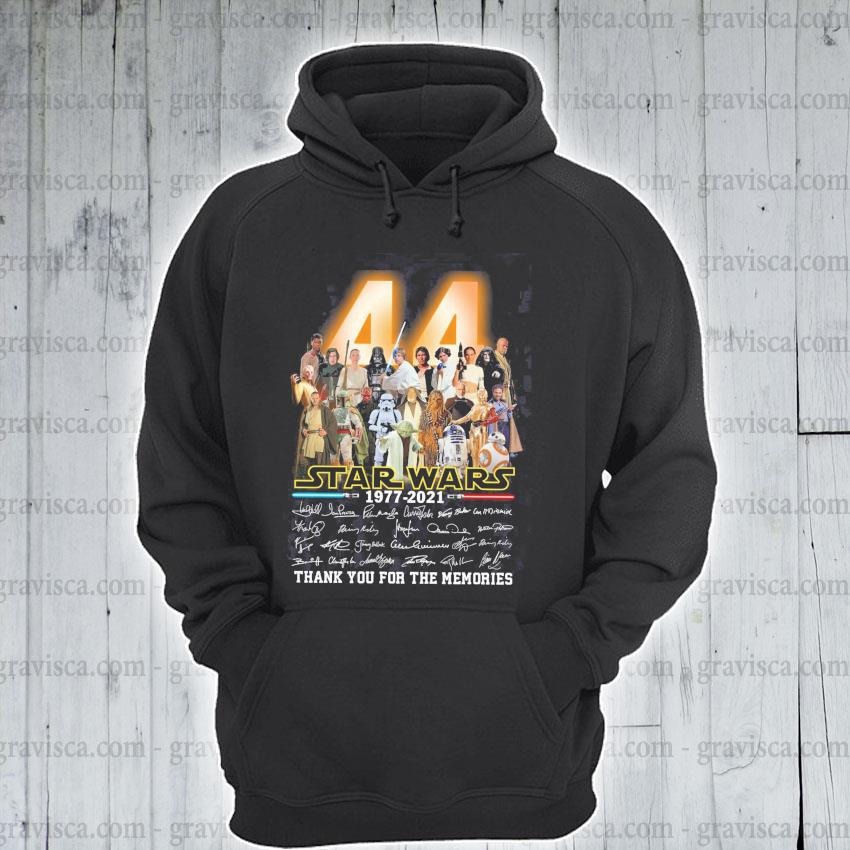 44 Star Wars 1977 2021 signatures thank you for the memories s hoodie