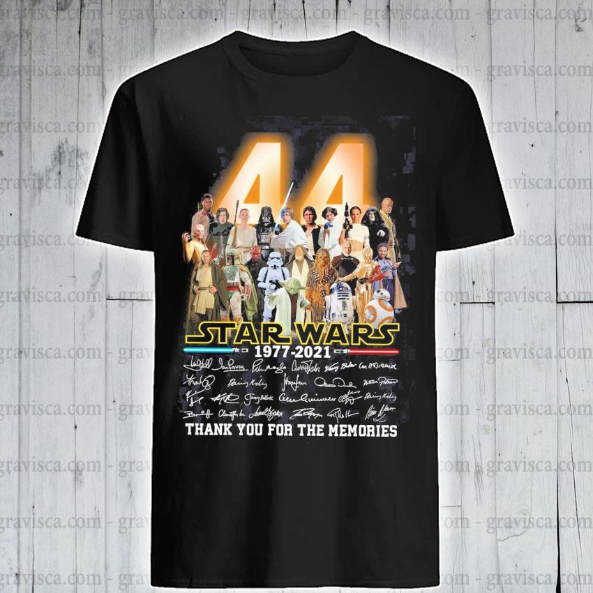 44 Star Wars 1977 2021 signatures thank you for the memories shirt