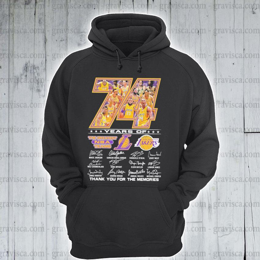 74 years of The Greatest NBA team Los Angeles Laker signatures thank you for the memories s hoodie