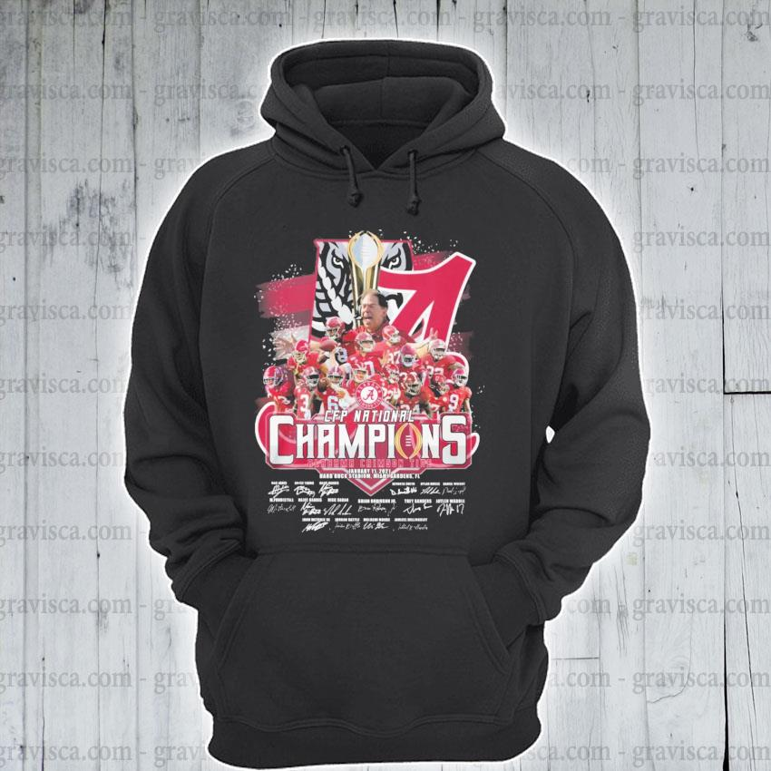 Alabama Crimson Tide CFP National Champions January 11 2021 signatures team player s hoodie