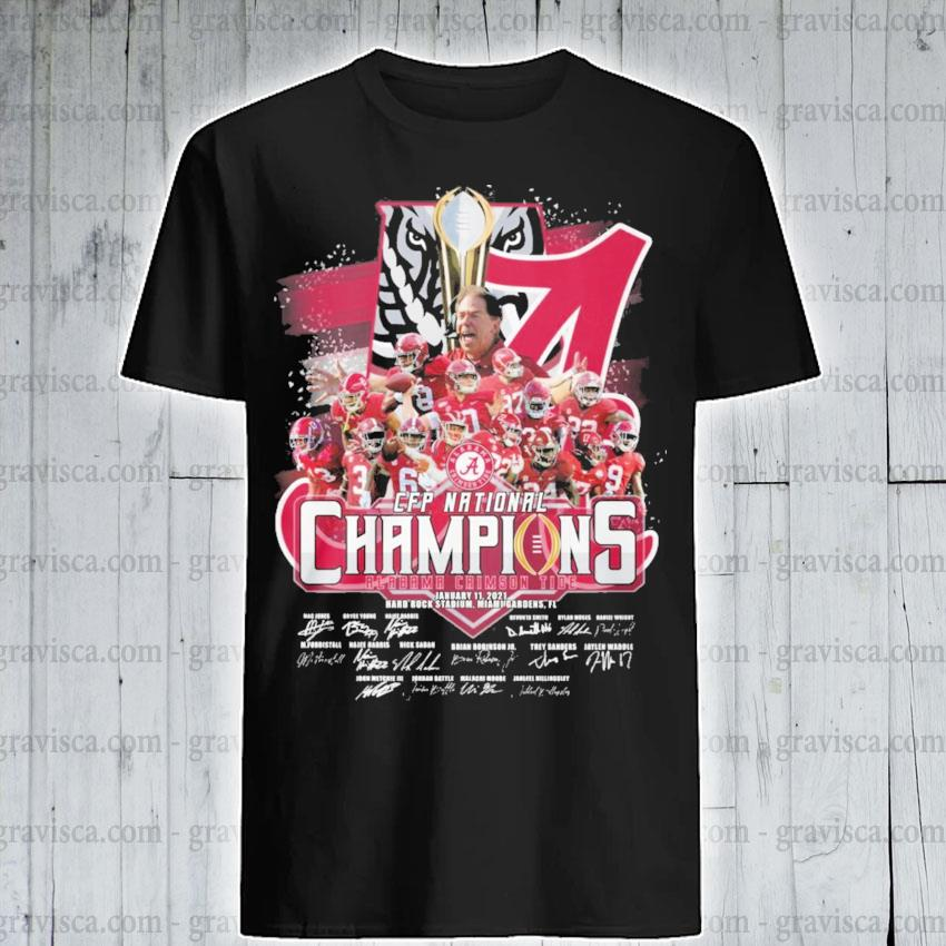Alabama Crimson Tide CFP National Champions January 11 2021 signatures team player shirt