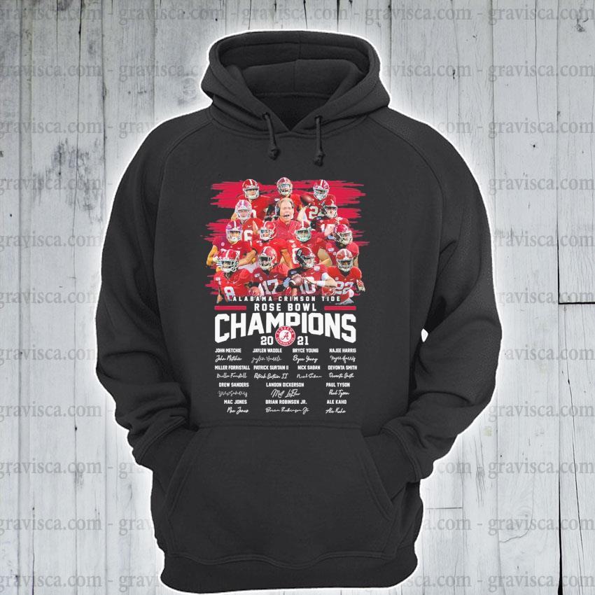 Alabama Crimson Tide Rose Bowl Champions 2021 signatures s hoodie