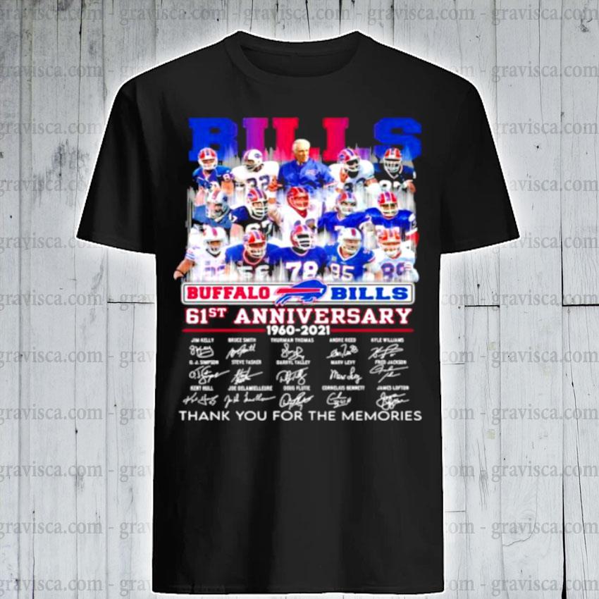 Bills buffalo 61st anniversary 1960 2021 thank you for the memories signature shirt