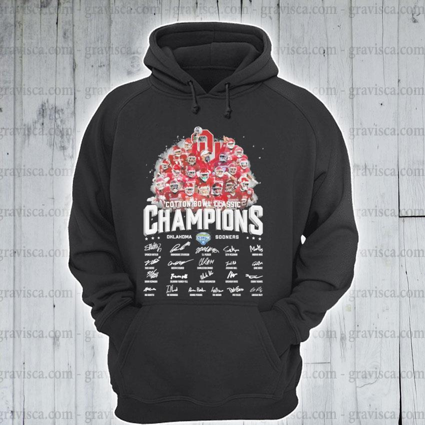 Cotton Bowl classic Champions Oklahoma and Sooners signatures s hoodie