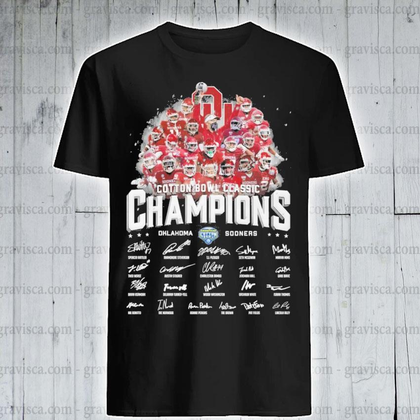 Cotton Bowl classic Champions Oklahoma and Sooners signatures shirt