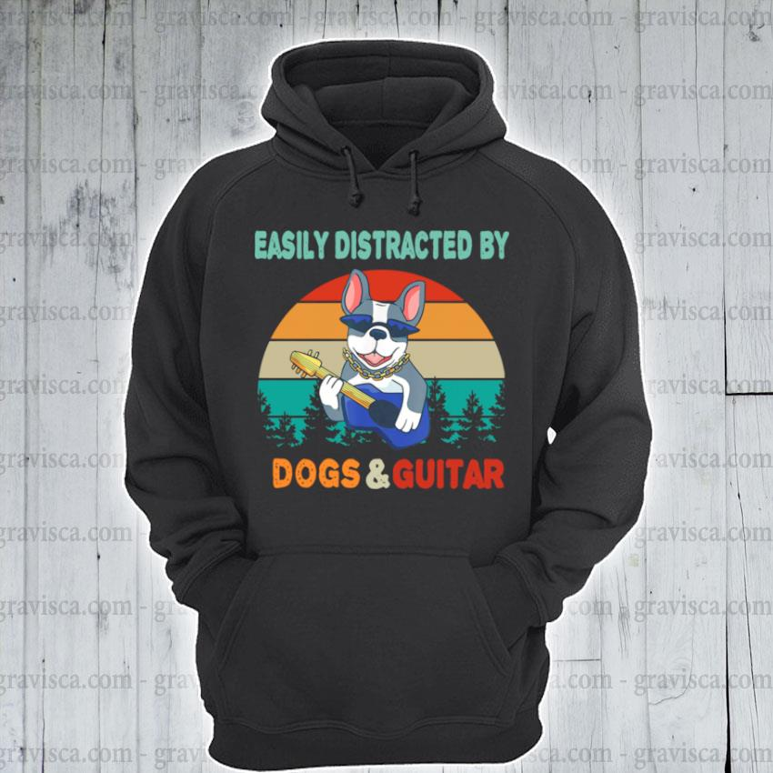 Easily distracted by dogs and guitar vintage sunset s hoodie