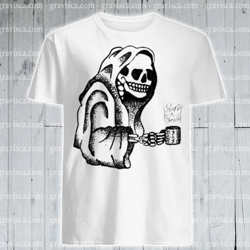 Skeleton drinking coffee halloween shirt