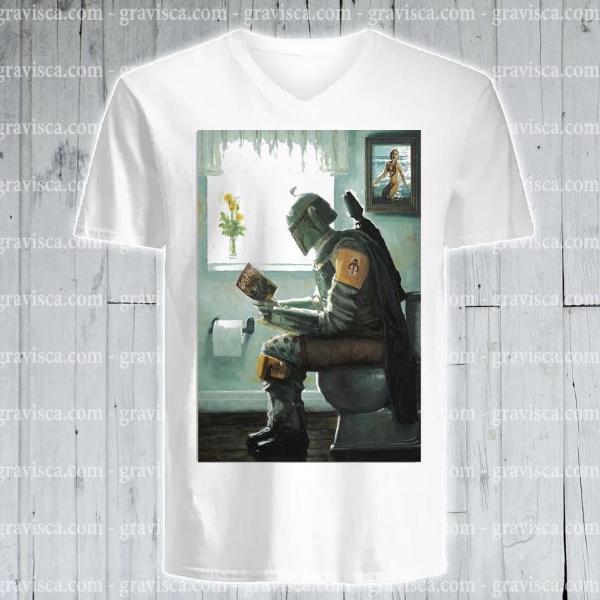 The Mandalorian toilet and read book Harry Potter 2021 s v-neck-tee
