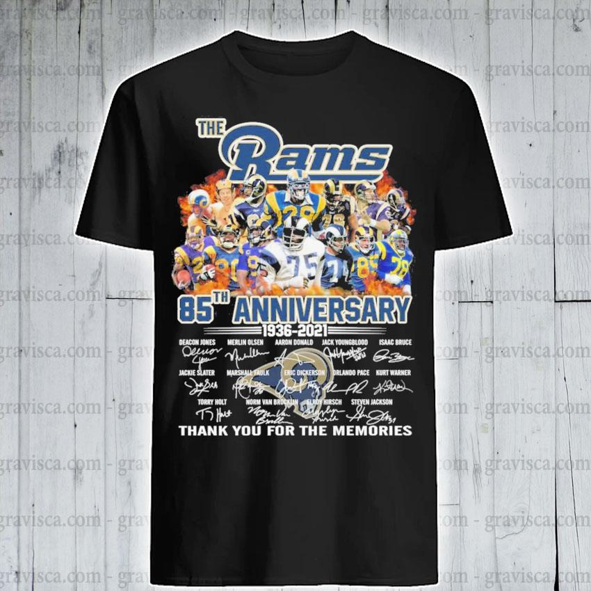 The Rams 85th anniversary 1936 2021 signature thank you for the memories shirt