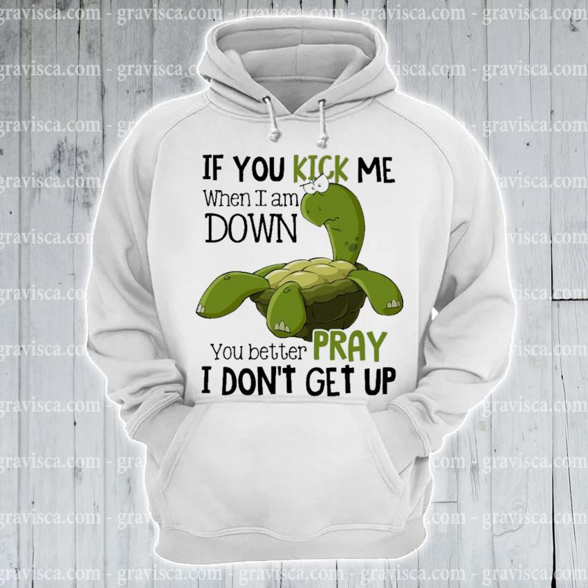 Turtle If you kick me when I am down you better pray I don't get up s hoodie