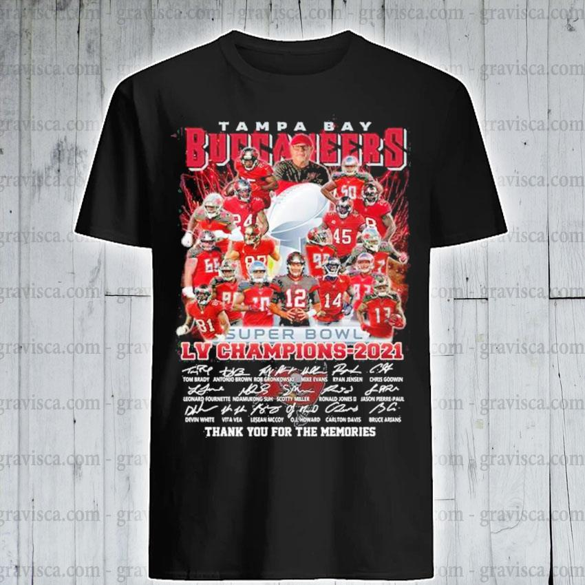 Tampa Bay Buccaneers super bowl LIV Champions 2021 signatures thank you for the memories shirt